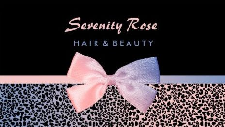 Chic beautician pink and blue leopard print with bow business cards colourmoves