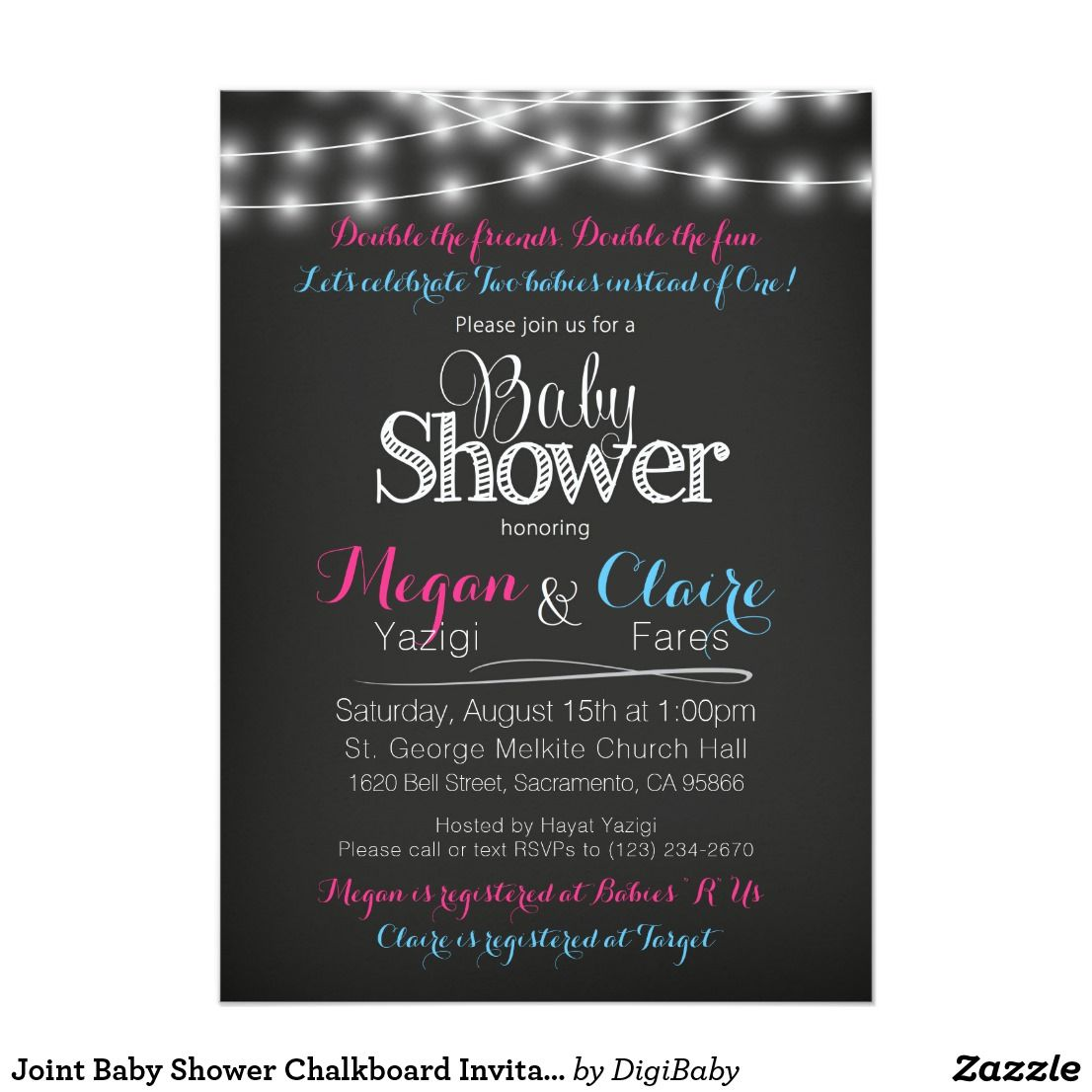 Joint Baby Shower Chalkboard Invitation with Book Card on back. #jointbabyshower #babyshowerfriends #coed #unique #customcolors #zazzle #invitations