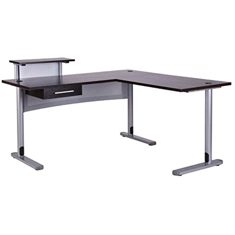 Fivegiven corner office desk l shaped desk for home office black