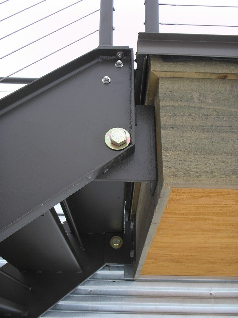 Best Hinged Steel Stair With Cable Rails Blackened Steel 400 x 300
