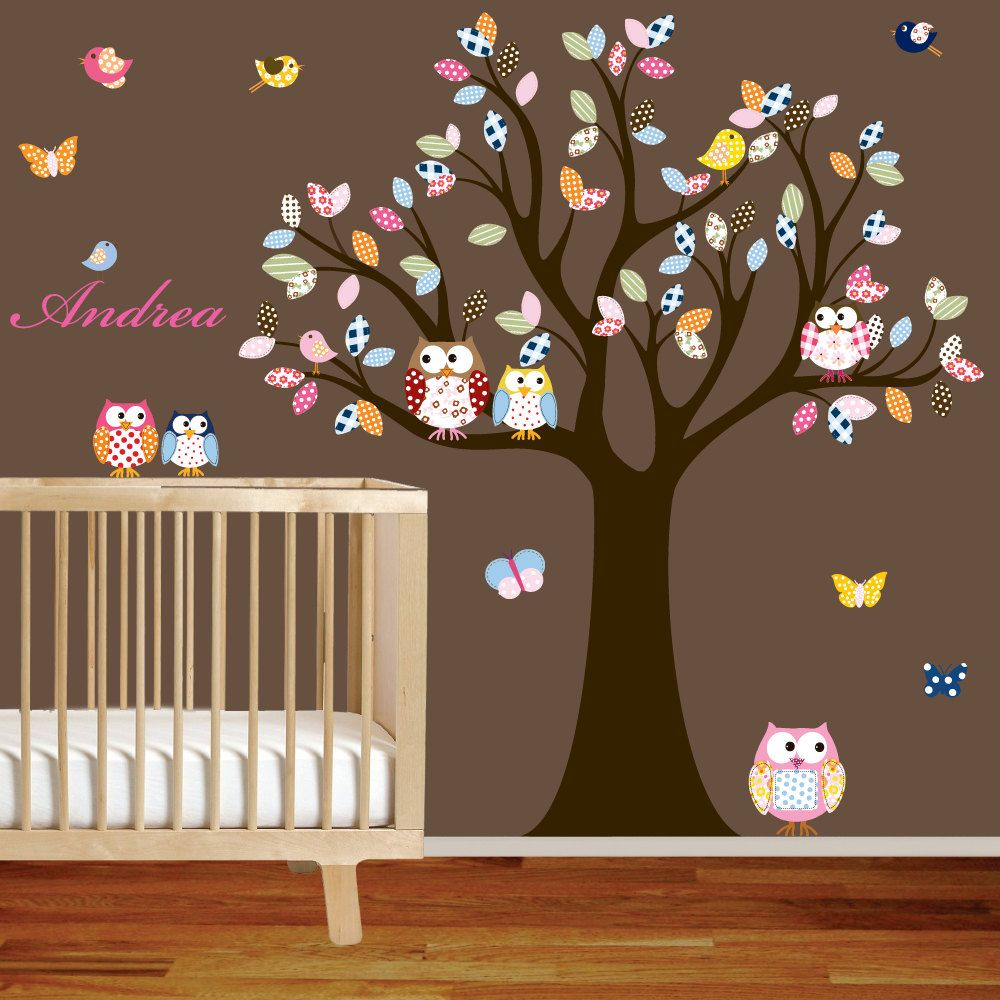 Vinyl Wall Decal Stickers Owl Tree Set Nursery Baby