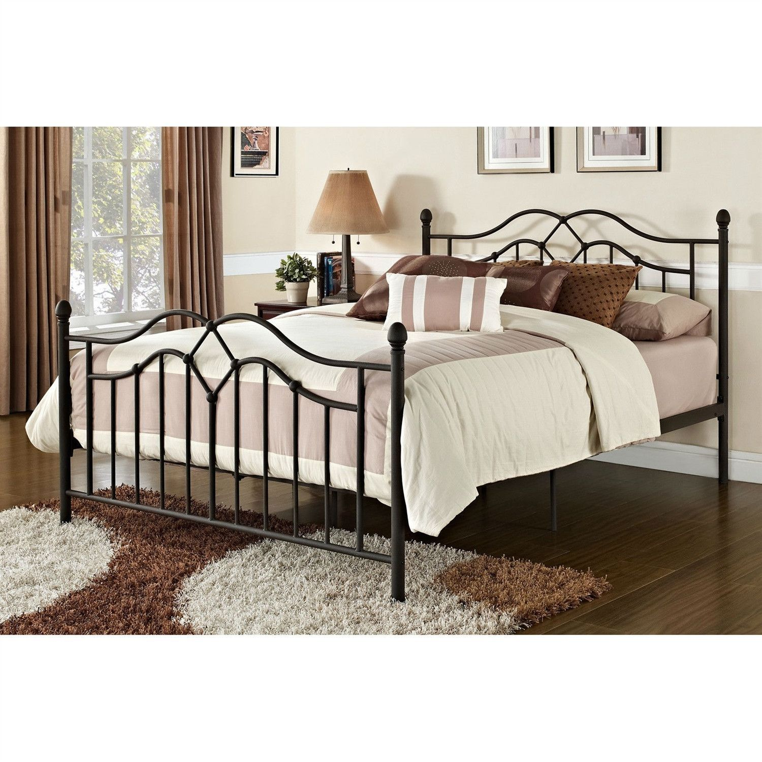 Queen size Brushed Bronze Metal Bed with Headboard and Footboard ...