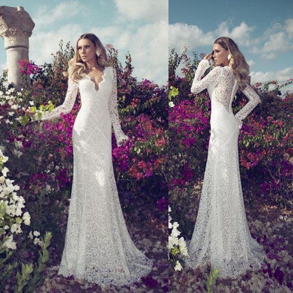 Front Deep V Neck Lace Wedding Dresses