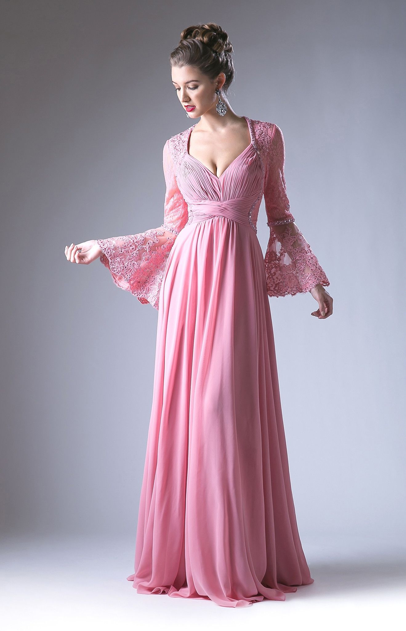 40672da26e6 Long V-Neck Dress with Lace Bell Sleeves by Cinderella Divine CR774 ...