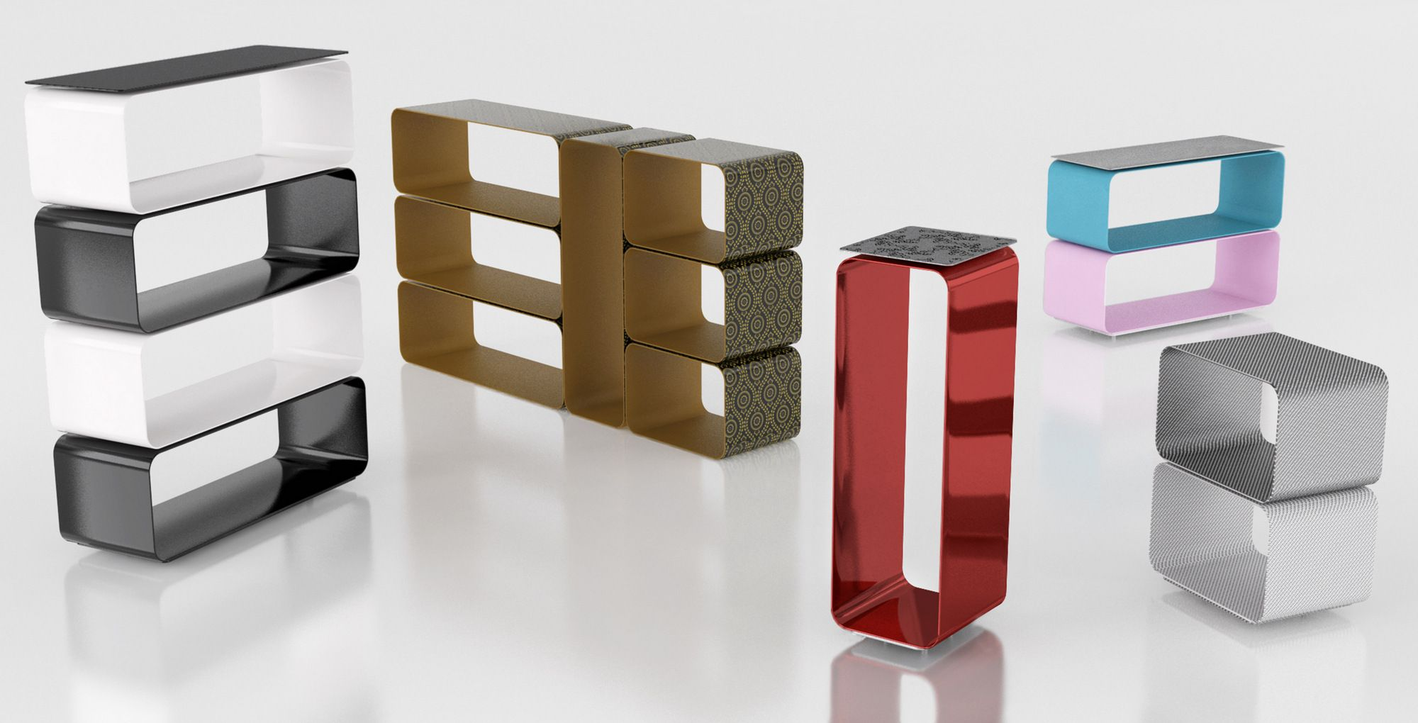Altreforme BRERA. Open sectional modular aluminium bookcase. Design ...