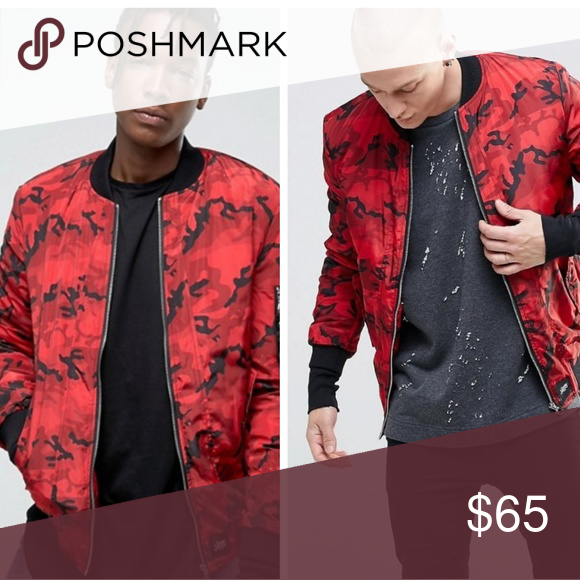 9a64a7005 ASOS Camo Bomber Jacket Red and black Sixth June Paris bomber jacket ...