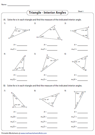 Find The Interior Angles Solve For X Angles Worksheet
