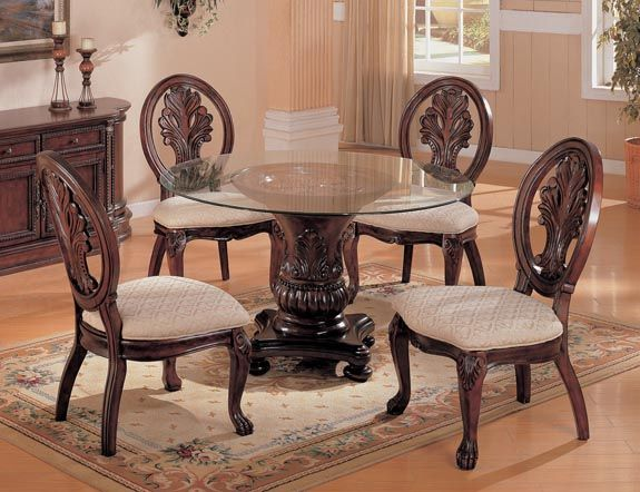 Ttraditional Rich Cherry Round Glass Dining Table Set Glass