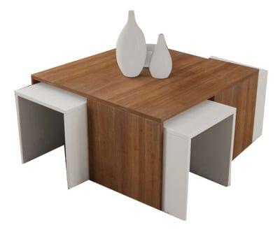 Tavolino con 4 sgabelli estraibili ortanca noce bianco sweet home
