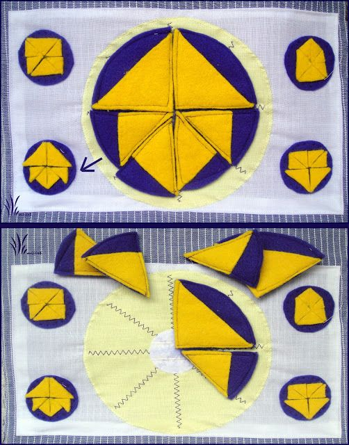 Place the shape according to the selected pattern.       The four models to choose from.     Arrange whole these elements into shape, According To one of four examples.