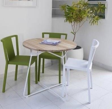 Marabierto   mesa tango con tapa de teca y base hierro blanco ...