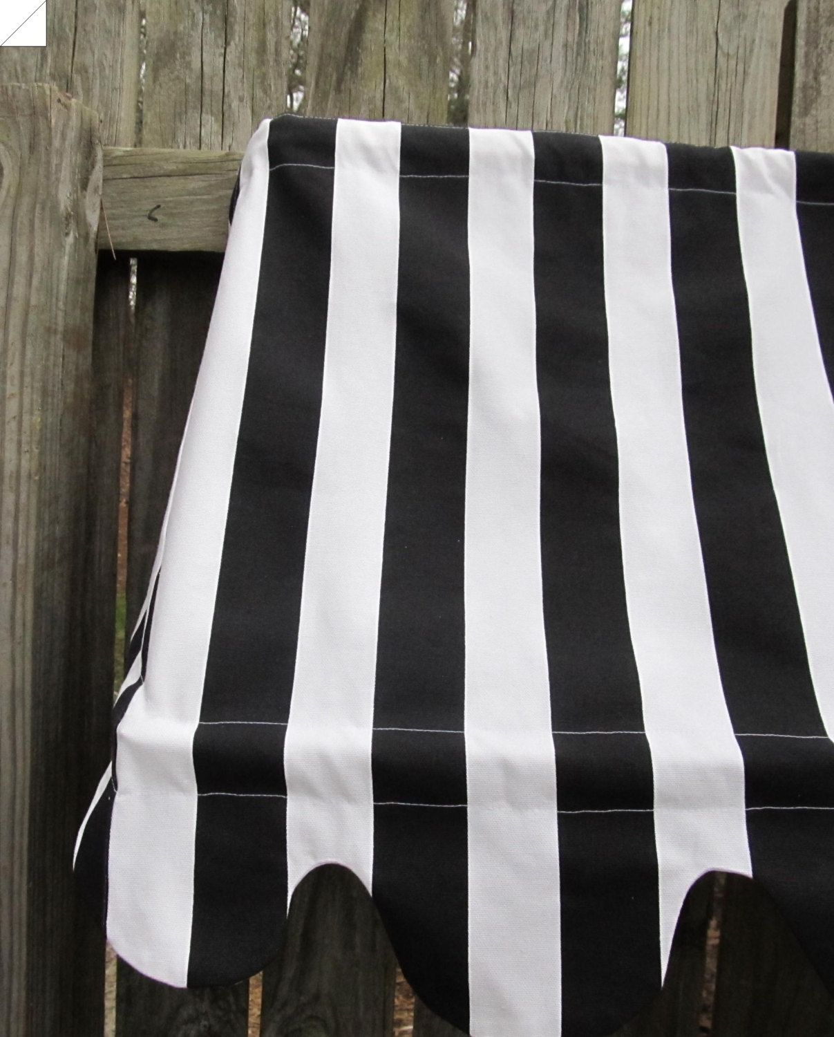"Country French Cafe Awning  Window Valance in Black and White Stripe , 48"" width, Multiple widths available. $80.00, via Etsy."