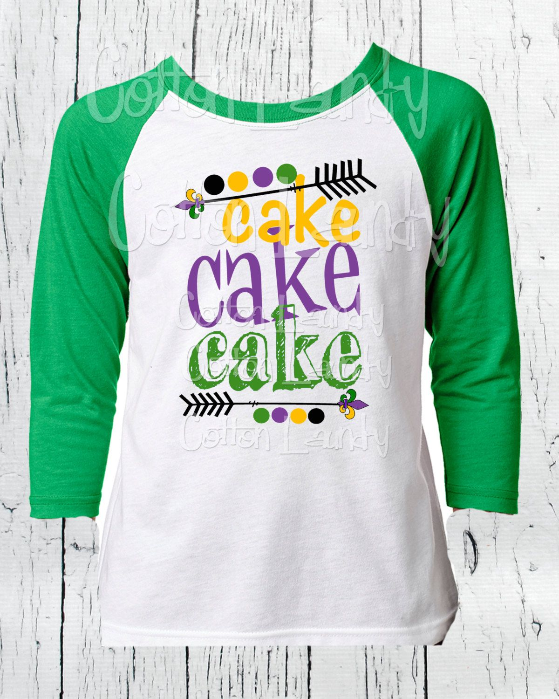 Mardi Gras Boys Raglan Green Short Sleeve Tee Shirt Cake