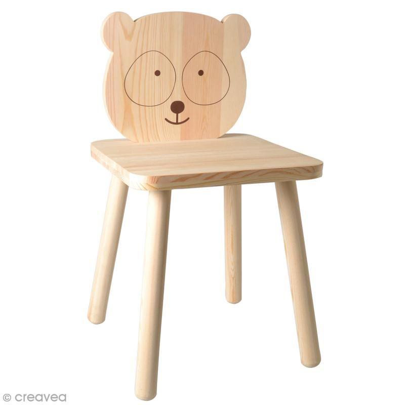 Chaise Pour Enfant A Construire Et Decorer Panda Adorable 29 X 53 Cm Meuble A Decorer Creavea Chaise Enfant Chaises Bois Enfant