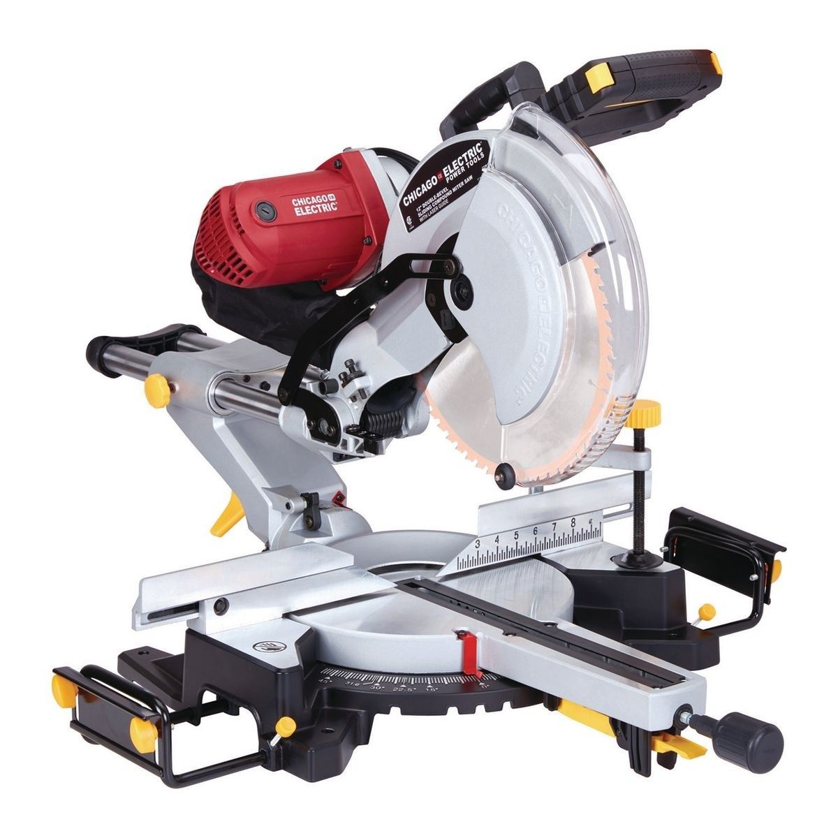 12 In Dual Bevel Sliding Compound Miter Saw With Laser Guide System Compound Mitre Saw Sliding Compound Miter Saw Miter Saw