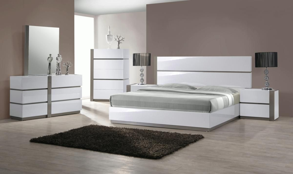 Overnice Wood Luxury Bedroom Furniture Sets in 3  White