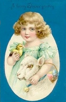 happy Easter greeting, with lamb.