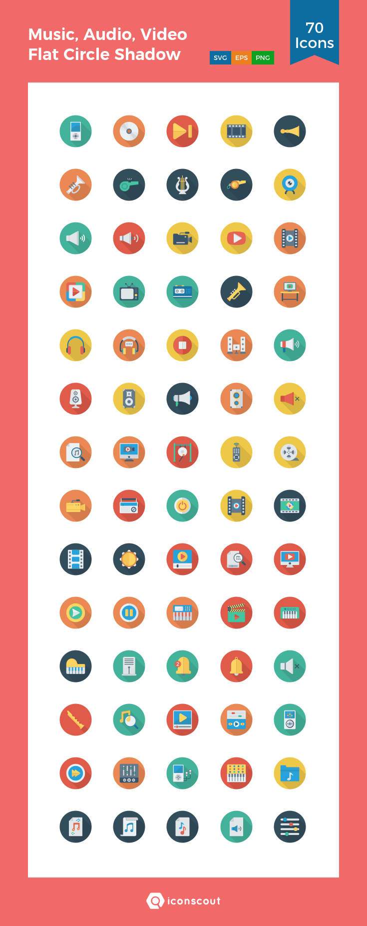 Download Music Audio Video Flat Circle Shadow Vol 1 Icon Pack Available In Svg Png Eps Ai Icon Fonts Icon Pack Flat Icon Icon