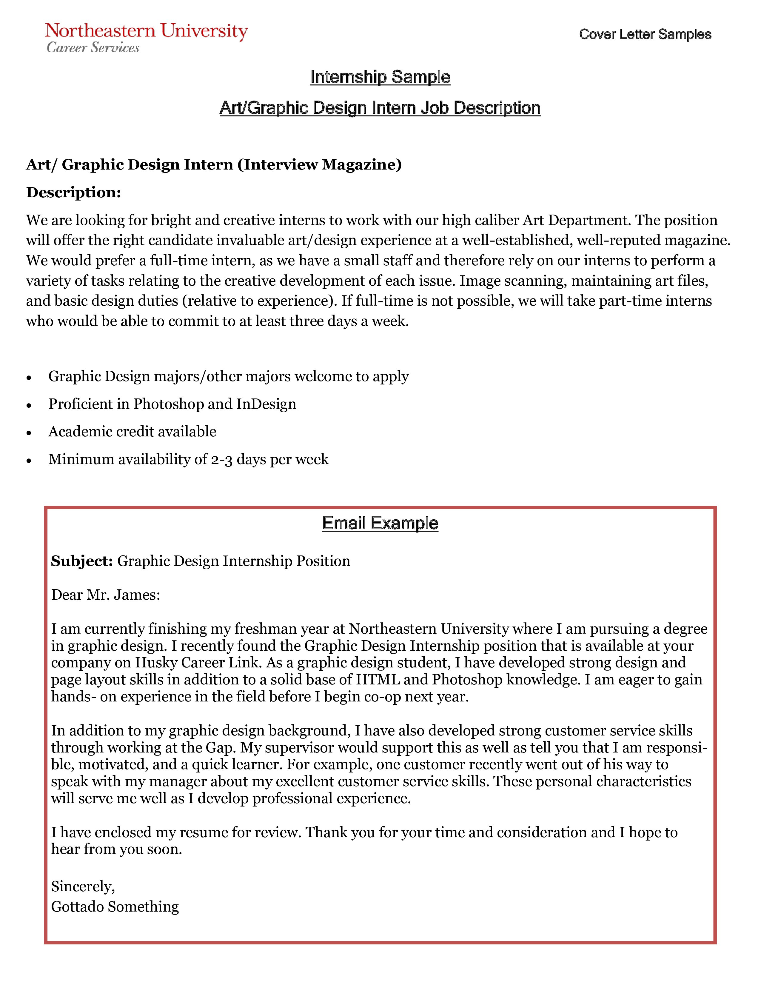 Email Internship Cover Letter Template