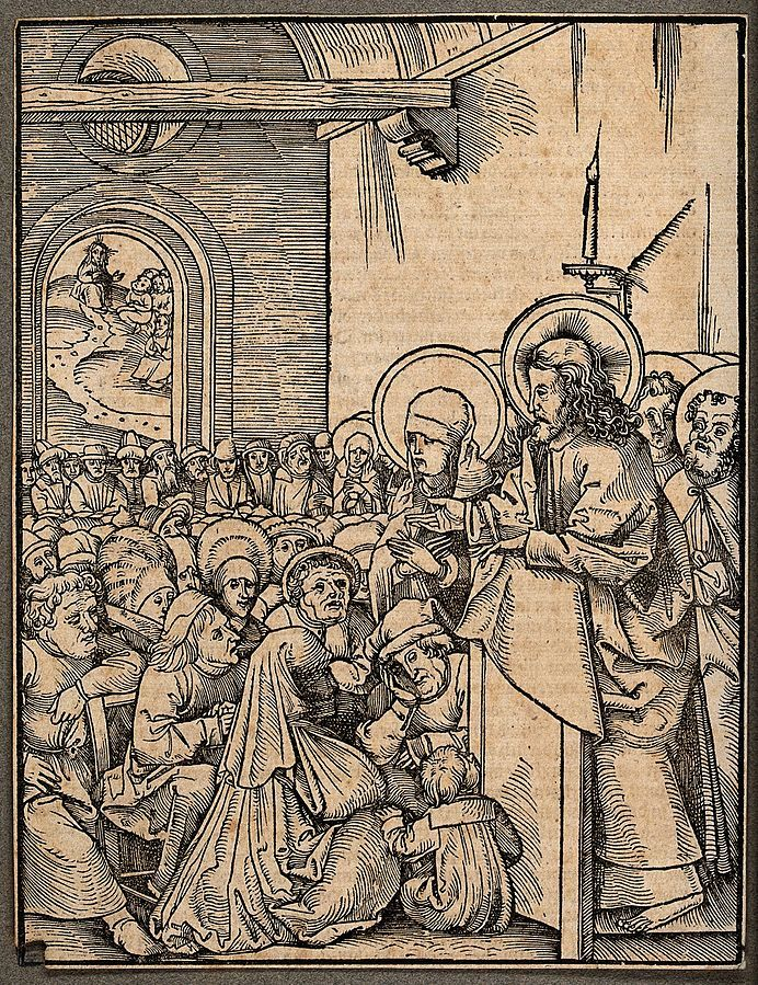 FileChrist preaching before a crowd. Woodcut.