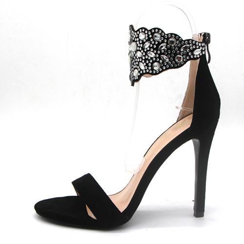 574fb462564 Parkside Wind Gladiator Women Sandals Crystal Flock Thin High Heels ...