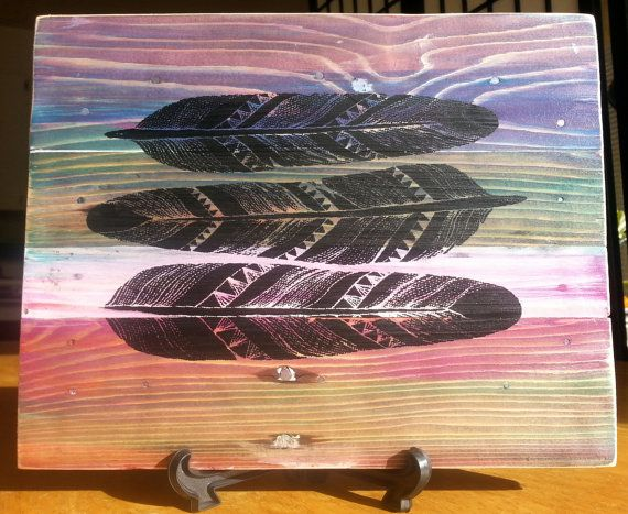 Three Feathers Screen Print on Upcycled Pallet Wood by CryptobioticDesigns  8.5 X 11