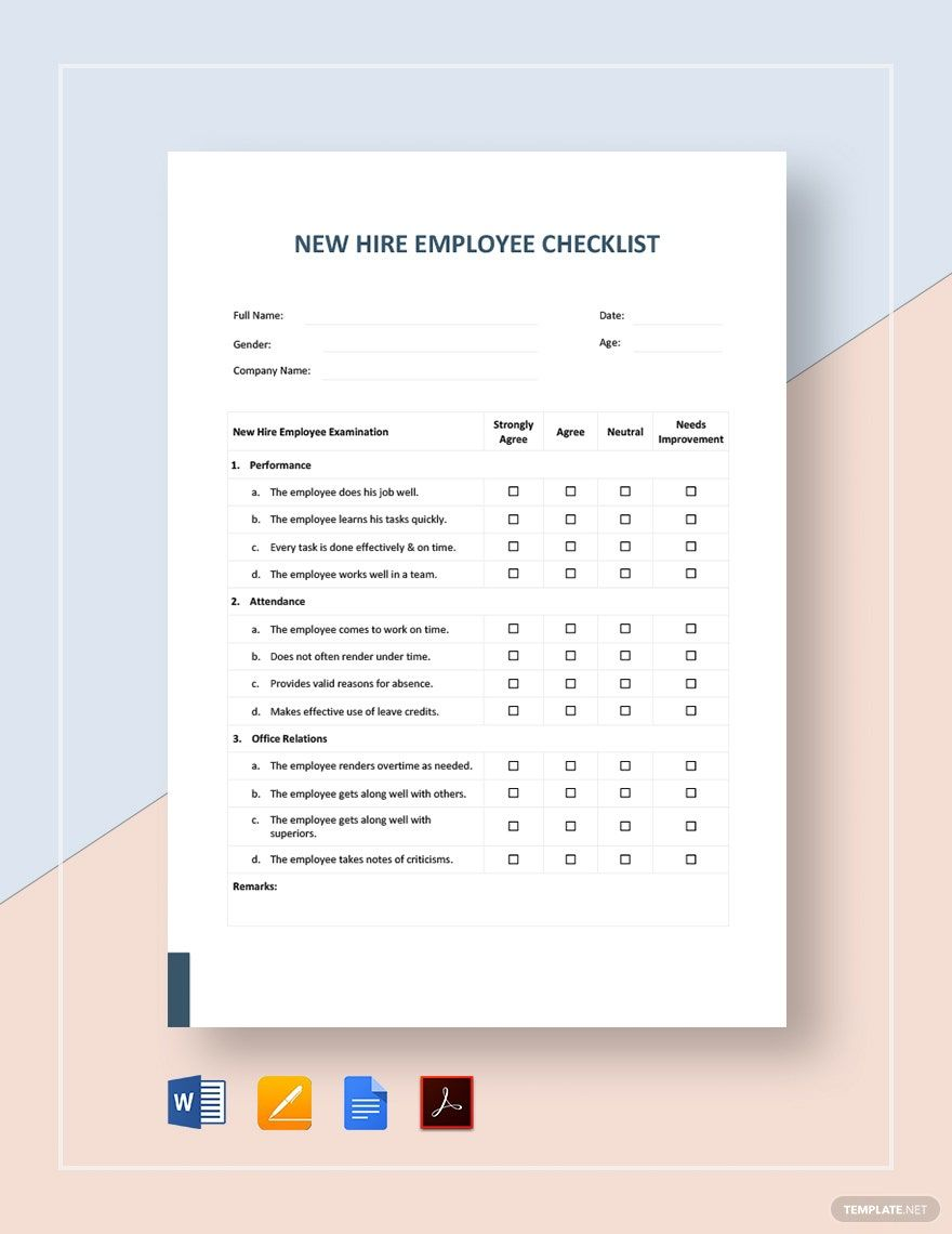 Instantly Download New Hire Employee Checklist Template