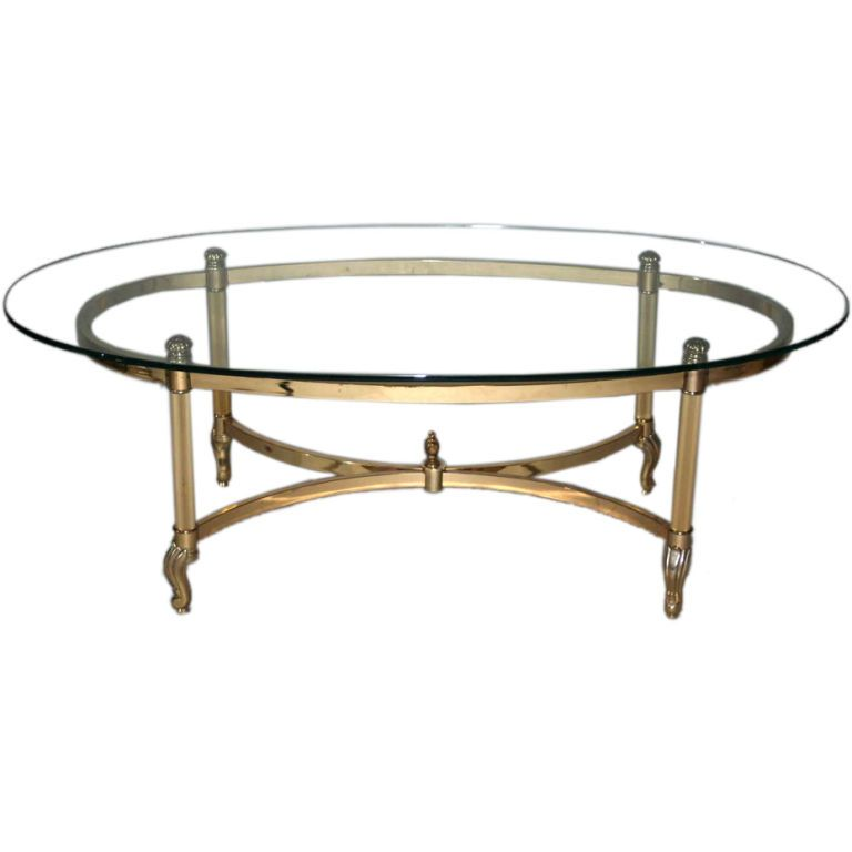 Oval Coffee Table Antique: Brass And Chrome Glass Top Oval Coffee Table