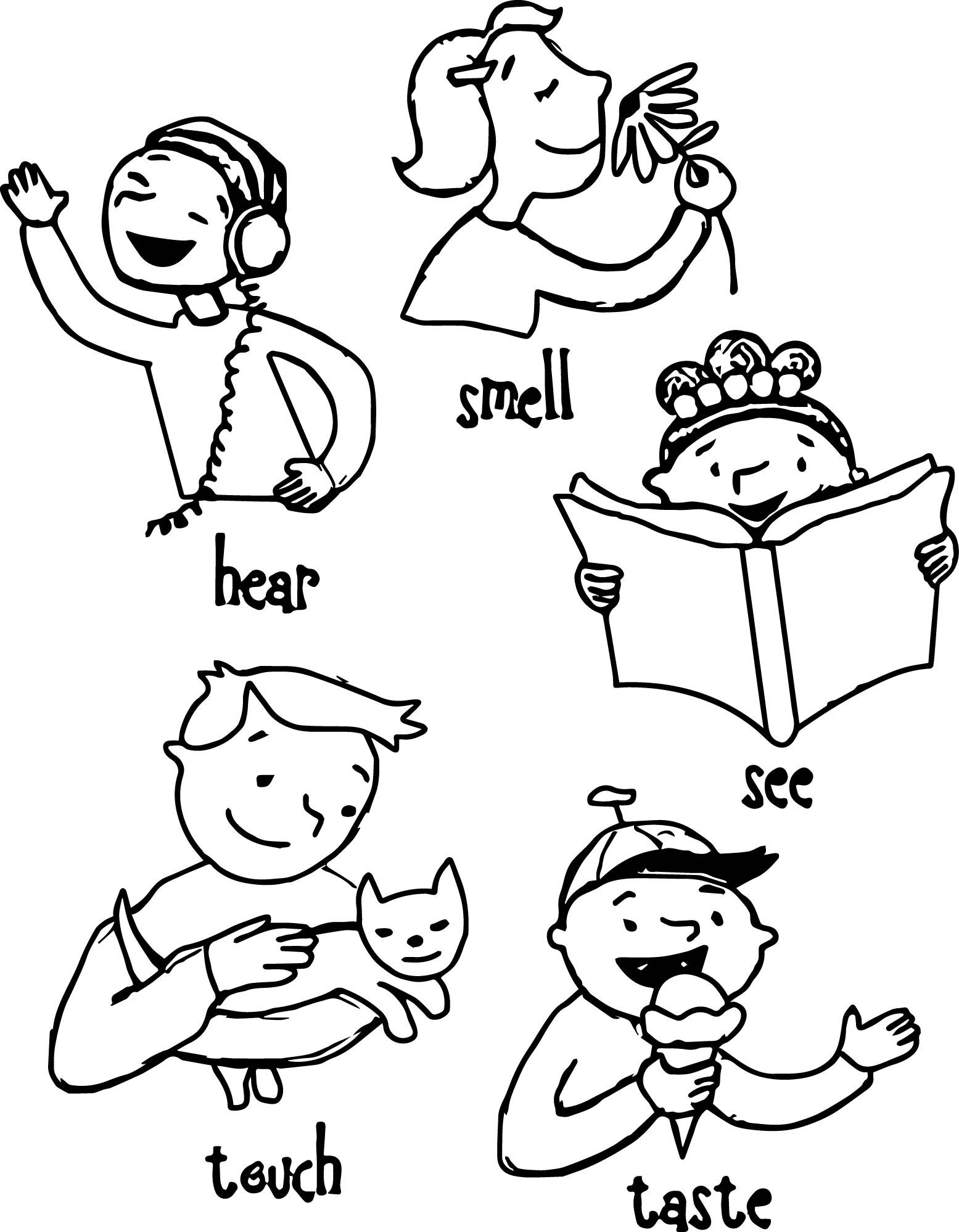 Awesome Children 5 Senses Coloring Page