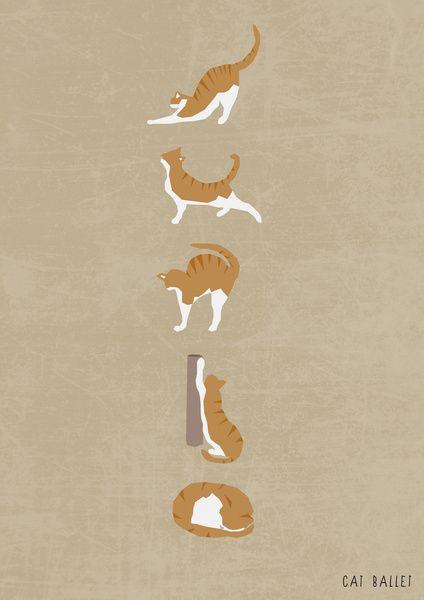 Cat Ballet Art Print