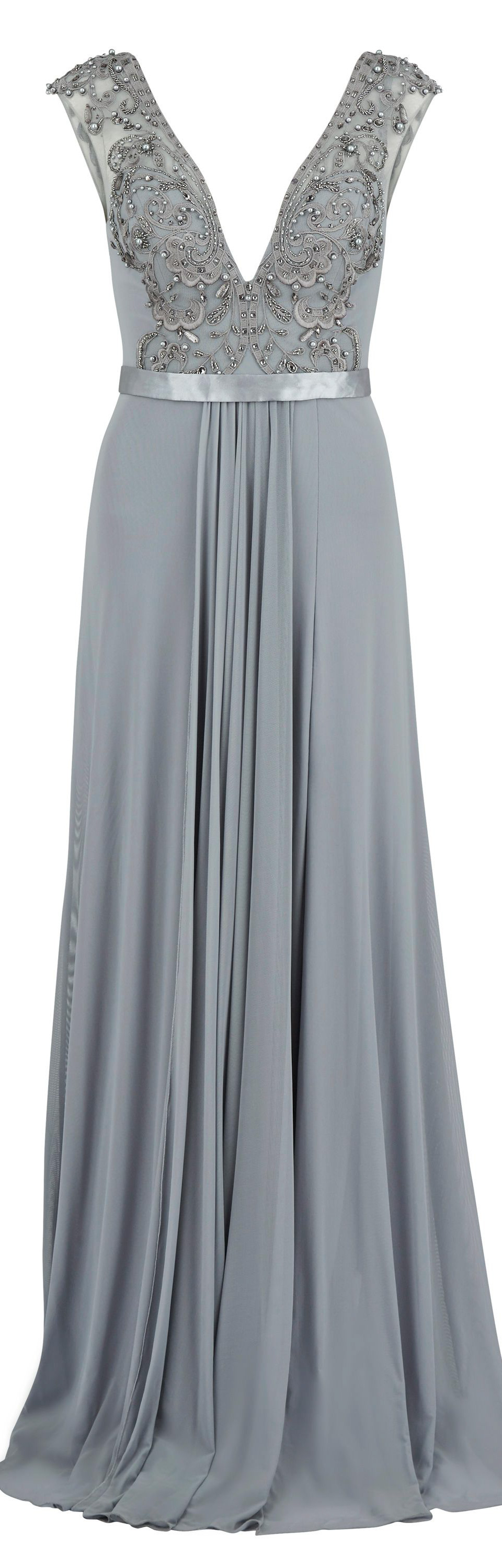 Gina Bacconi Long mesh dress with beaded applique | ✤✤ Outfit ...