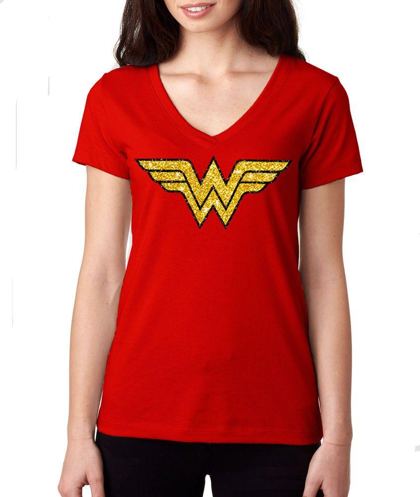 9b86037e99c DC Comics Glitter Wonder Woman Classic Women's Girls Red Soft T-Shirt - US  SIZES #NextLevel #GraphicTee