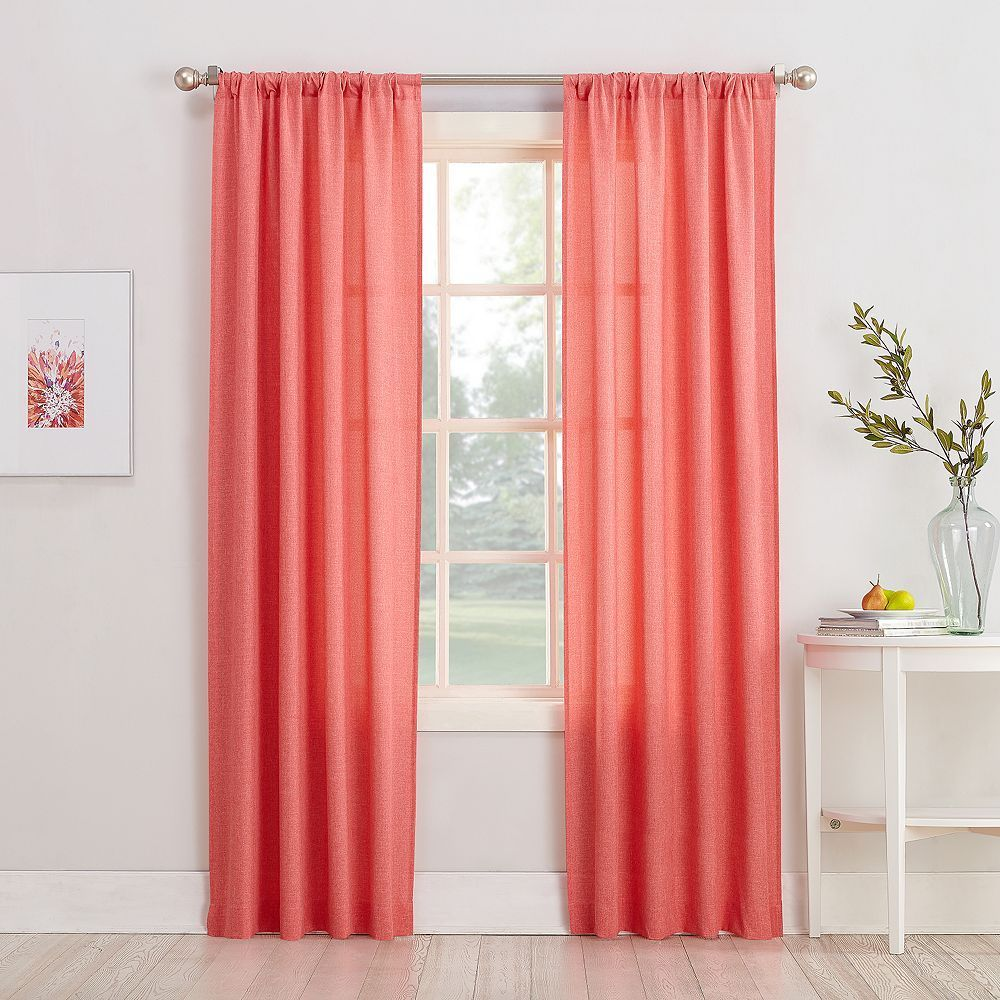 No 918 1 Panel Rapture Heathered Semi Sheer Window Curtain Orange Rod Pocket Curtain Panels Panel Curtains Sheer Curtain Panels