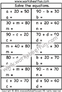 Solve The Equations 1 Worksheet