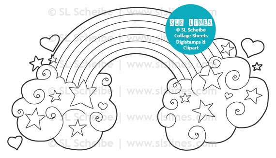 Hearts And Rainbow Digital Stamp Valentine Digistamp Clouds And