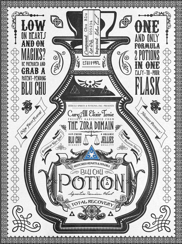 Vintage blue potion archival fine art print zelda pinterest
