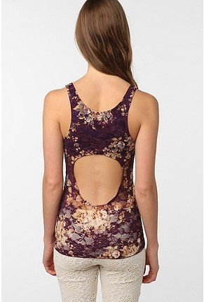 2168bcec035da Pins and Needles Floral Lace Backless Tank Top