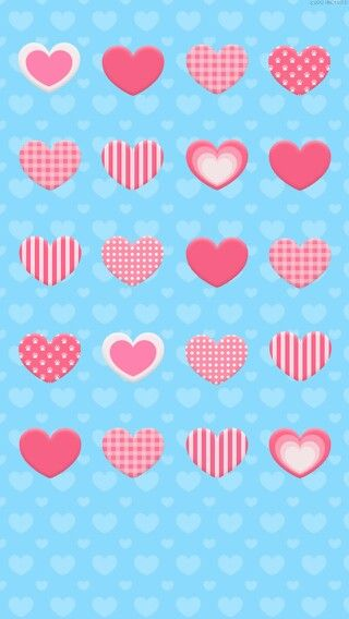 Pink And White Hearts On Blue Heart Background Cute Blue Wallpaper Cartoon Heart Trendy Wallpaper