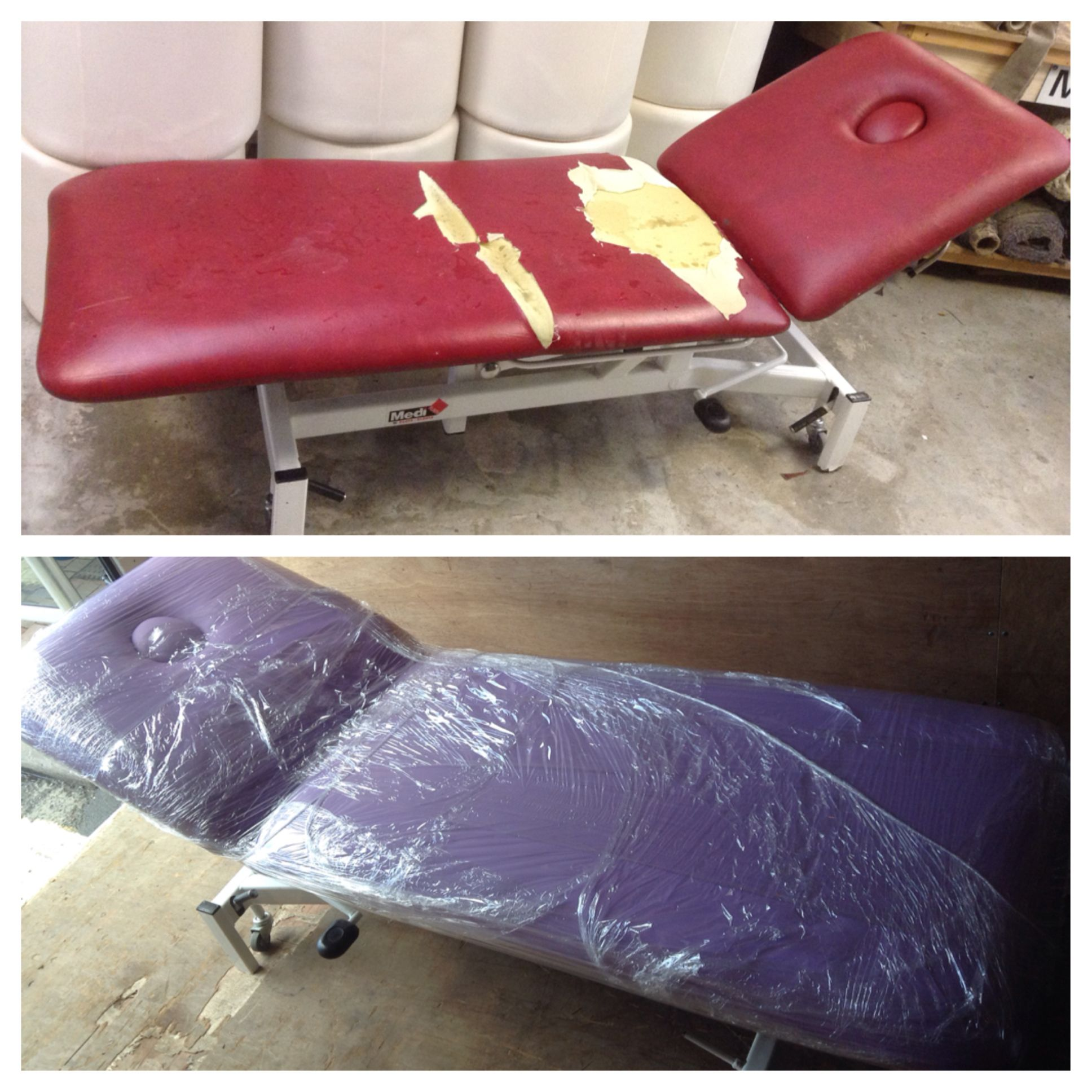 Slightly different to the furniture we tend to upholster at South West Upholstery, this is a repair we carried out on a massage bed. We know which one we'd rather lie on!