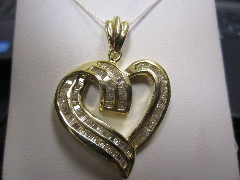 14kt 585 yellow gold diamond heart pendant with channel set 14kt 585 yellow gold diamond heart pendant with channel set baguette diamonds pendant mozeypictures Image collections