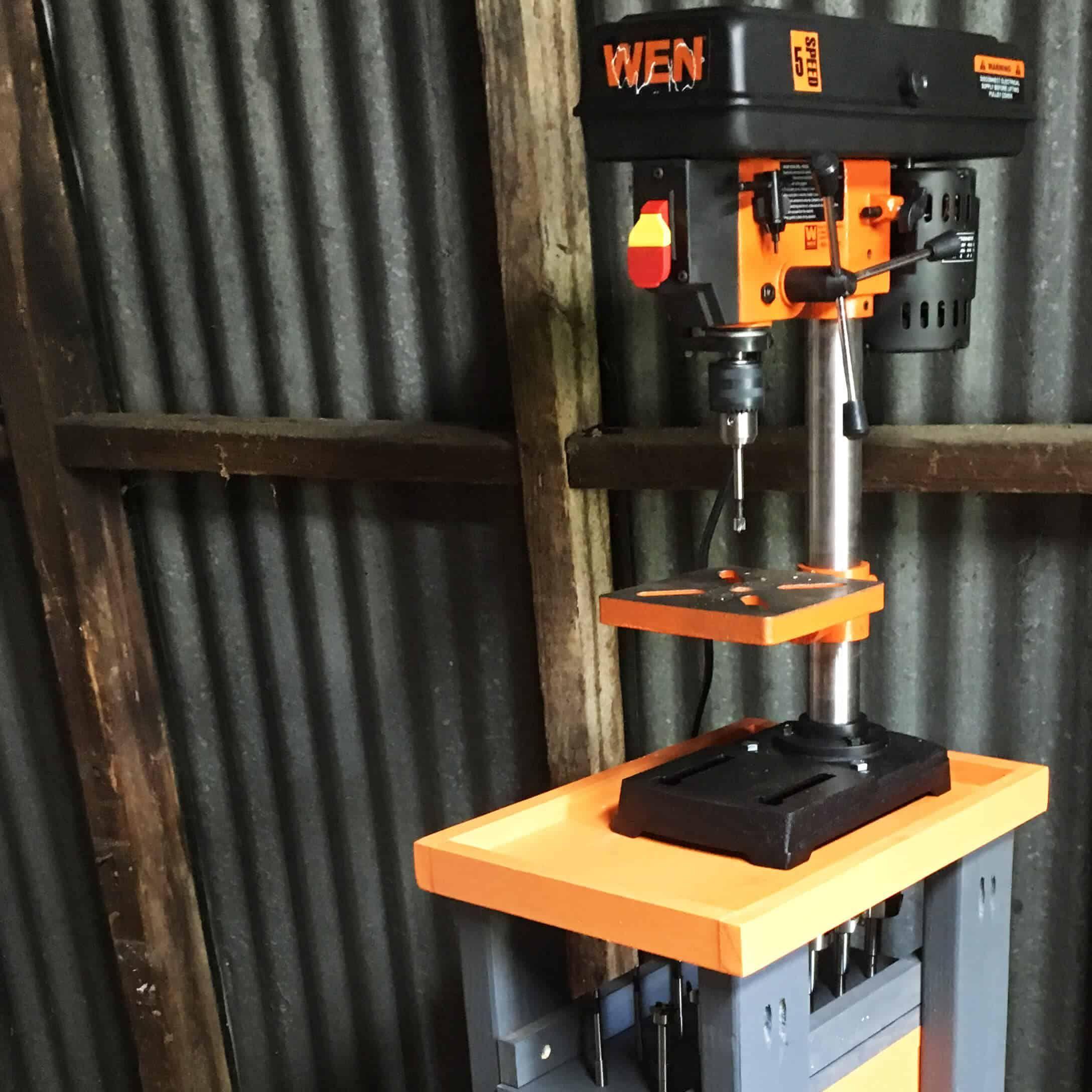 Rolling Drill Press Cart With Bonus Storage! Drill
