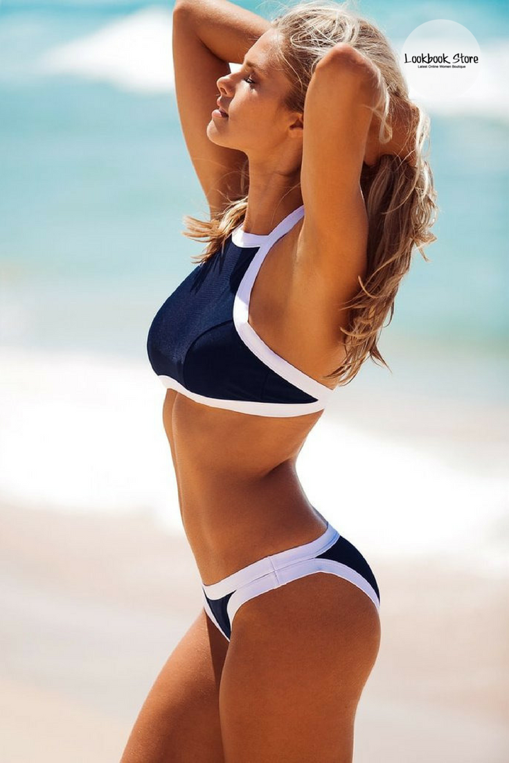 ff30acc874 Most Wanted // Get ready for summer by having this sexy dark blue high-neck bikini  set.