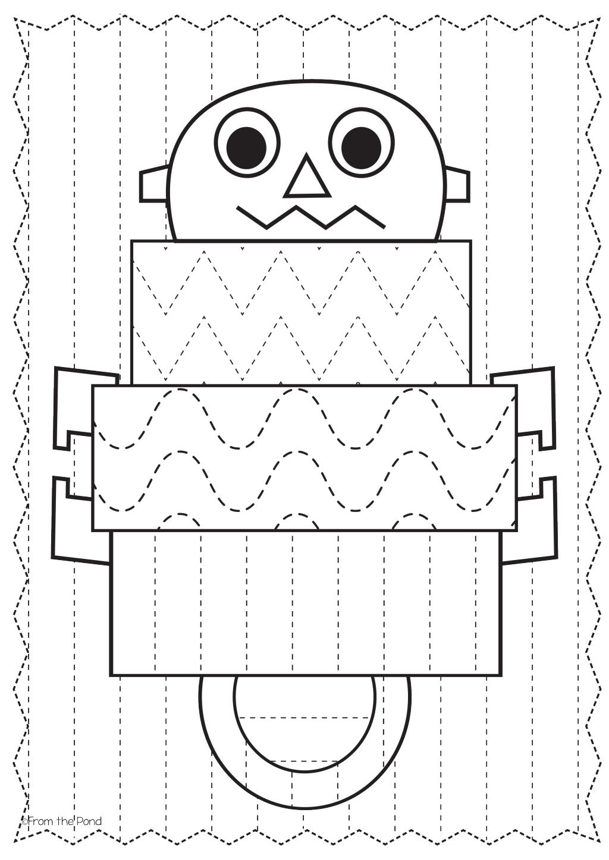 Free Robot Big Shape Tracing Page
