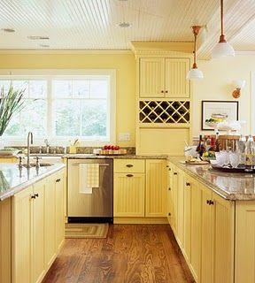 yellow painted cabinets   kitchen cabinets   Pinterest   Yellow ...