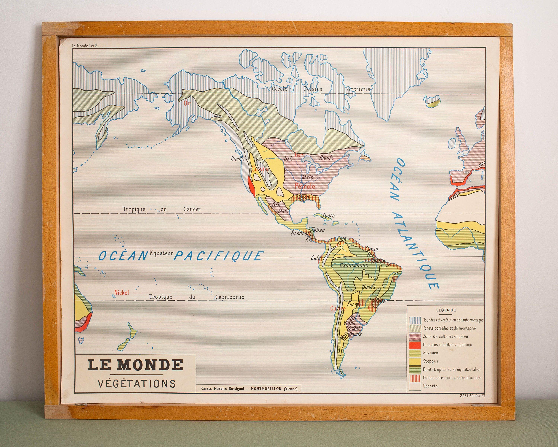 Le Monde Carte De Geographie Vintage Affiche Scolaire Double