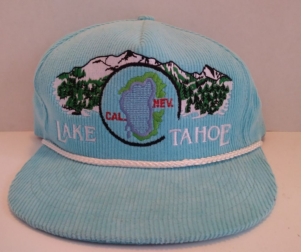 812e69b0f63 Vintage Lake Tahoe Corduroy SnapBack Hat Embroidered Dad Camp Vacation  Tourist