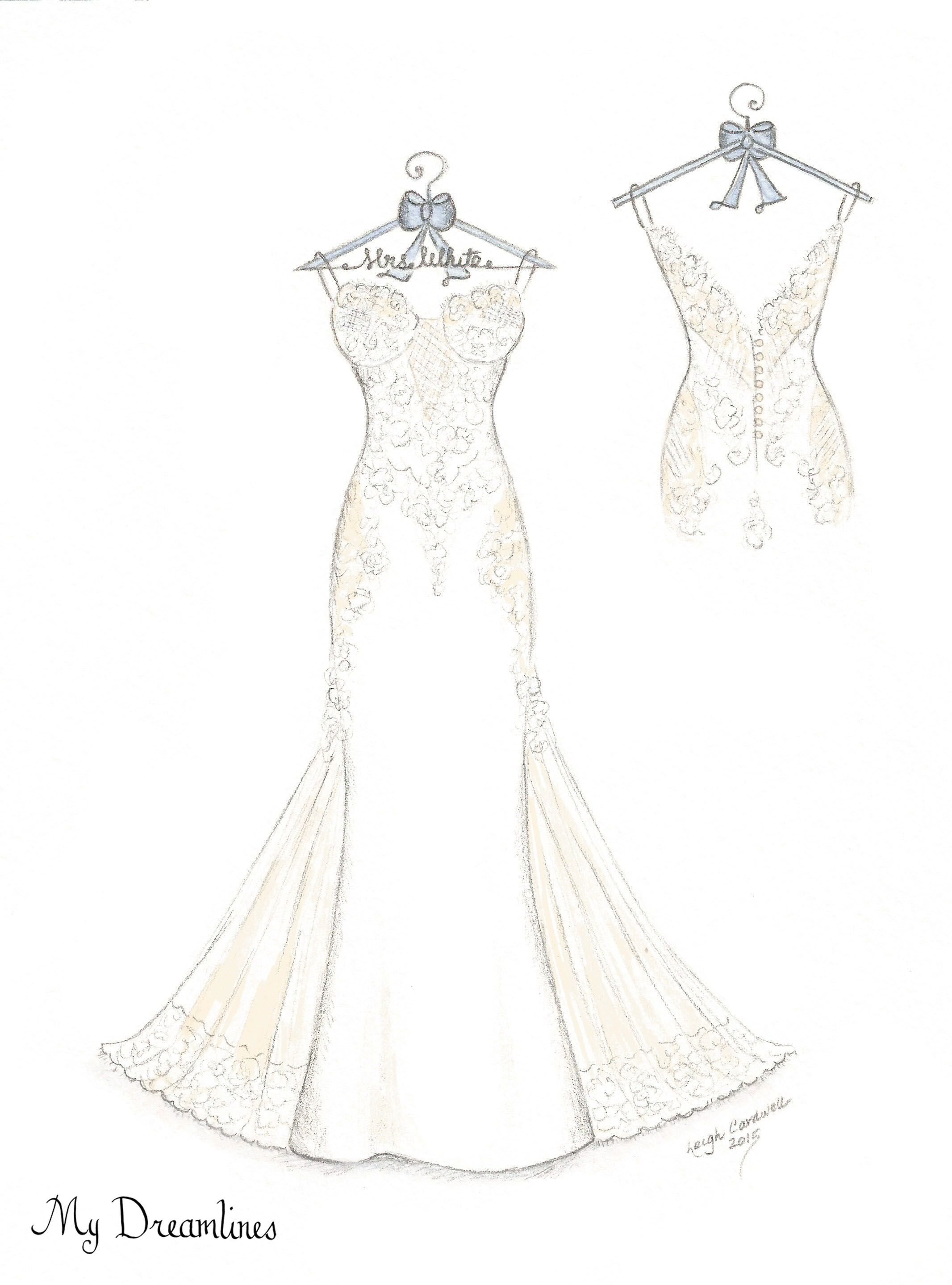 Dreamlines Wedding Dress Sketch Give As An Anniversary Gift From