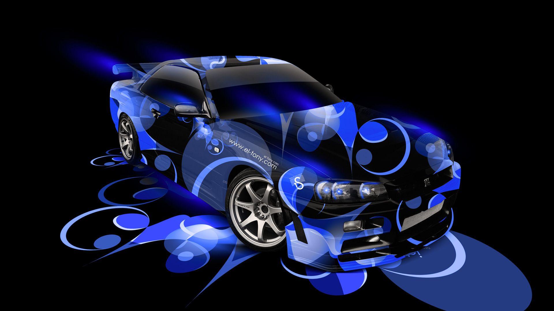 Charmant Nissan GTR R34 Super Abstract Car 2014 Blue
