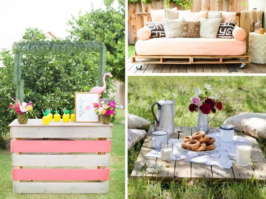 Decoraci n de fiestas al aire libre decoraciones de for Palets decoracion jardin