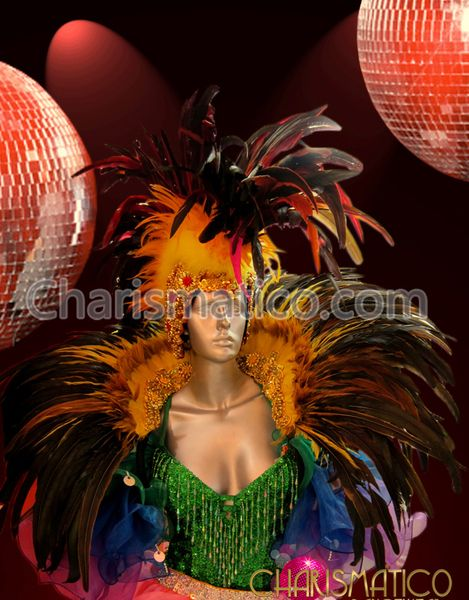 5119db1c6e60 Charismatico Dancewear Store - CHARISMATICO Sunny Golden Orange Drag Queen  Headdress and Matching Feathered Collar ,